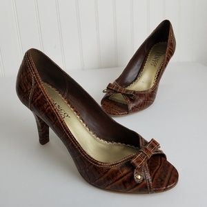Franco Sarto Brown Goodbye Peep Toe Pumps Size 7.5